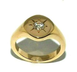 Gents 9ct Gold Chunky Signet Ring Set With A Superb 0.50ct Diamond Uk Size V