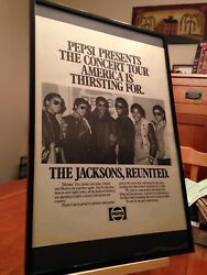 Big 11x17 Framed The Jacksons Michael Live In Concert - 1984 Victory Tour Ad