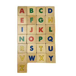 Vintage Abc Wooden Multicolor Letters Pictures Stacking Toy Blocks Set 25 Pieces