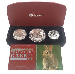 2011 Australia Lunar Ii Year Of Rabbit .999 Silver Proof 3-coin Set Ogp And Coa