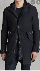 John Varvatos Collection Hooded Suede Coat . 50/40. 2498
