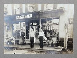 Antique Cabinet Card Photo General Store Advertising Signs C.e Morrell Ny