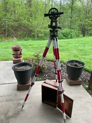Berger Transit Level With Mahogany Case And Tripod 1920's Era Good Condition