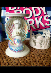Bath And Body Works Mermaid Pearl Resin Pedestal Candle Holder 3 Wick Set X2