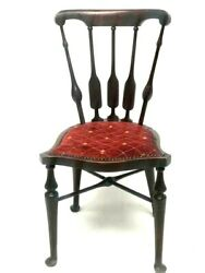 Antique Mahogany Windsor Style Upholstered Seat Side Chair [7018]