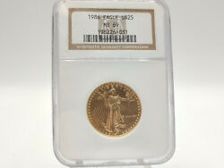 1986 Ngc Ms69 1/2oz American Gold Eagle Lower Mintage High Grade