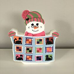 Cats Meow Village Collectibles 2000 Snowman Collection Quilting Snowman Figure