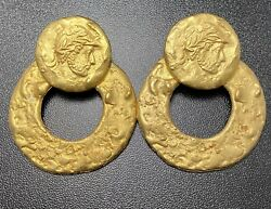 Vtg Roman Coin Cameo Earrings Large Knocker Matte Gold Etruscan Costume Jewelry