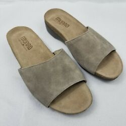 Munro Laya Taupe Suede Leather Sandals Size 6.5 M Slip On Open Toe Nwot