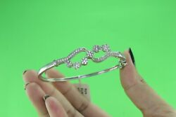 10k White Gold 1.04 Ct Natural Round Diamond H-i Color Bangle For Womenand039s