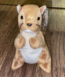 Rare Retired Ty Beanie Baby C9 Nuts The Squirrel 1996 P.v.c. Pellets W Errors