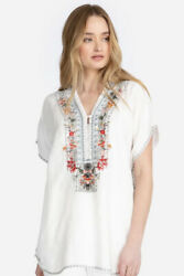 205 Nwt Johnny Was Hanjin Linen Blouse White Tunic Top-x Small Runs Large