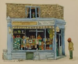 Australian-british Watercolor Corner Store Signed Barry Smith 1979
