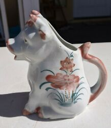 Vintage Floral Sitting Cow Creamer - Handcrafted In Thailand - Pink