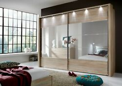 High End German Sliding Wardrobe Bedroom Oak White Mirrored Glass Fitted Free