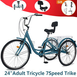 Adult Tricycle 24and039and039 7speed 3wheel Trike Bike W/shipping Basket Andsoft Backrest