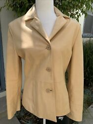 Redi Womens Solid Beige 100 Pelle Leather Long Sleeve Jacket 46 Large Italy