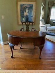 🐅authentic 2tone Antique Traditional Style Kidney Desk Table Console