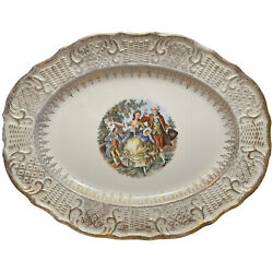 Vogue Dinnerware Washington Colonial China 13in Platter Courting Couple 22k Gold