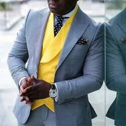 Gray Men Suits Slim Fit With Yellow Waistcoat Wedding Tuxedo Formal Party Wear