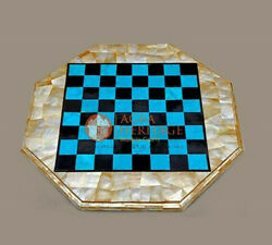 Marble Chess Set With Board Premium Blue Turquoise Stone And Mother Of Pearl Decor