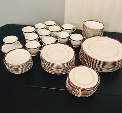 """Wedgewood """"empress Ruby"""" England Bone China 72 Pc Set. Service For 12. Excellent"""