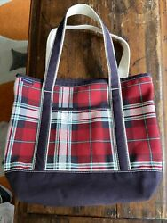 BEAUTIFUL Lands End Boat Tote Heavy Canvas Bag Beach Tote Red White Blue Plaid $21.99