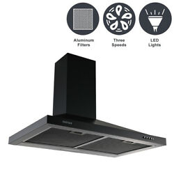 30and039and039 Wall Mounted Kitchen Range Hood Air Cook Fan 3 Speed 350cfm Vent Led Light