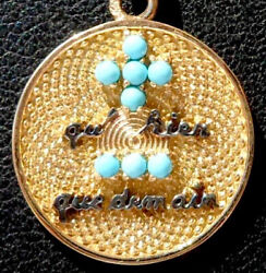 French And039+ Quand039hier - Que Demainand039 Charm / Love Pendant Gold 18k 3.20 Gr