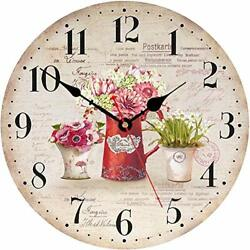 14 Inch Vintage Flowers Style Decorative Wall Clocks Wooden Round Floral Wall