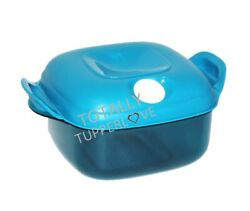 Tupperware Heat N Serve Square 5 Cups Blue W/ White Vent Microwave Safe