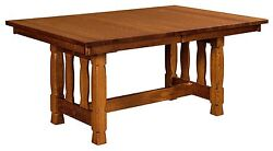 Amish Mission Trestle Dining Table Transitional Rock Island Solid Wood 42 X 72