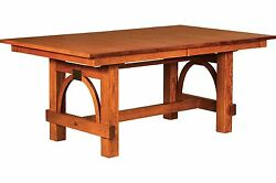 Amish Ellis Mission Trestle Dining Table Rectangle Solid Wood 42x72