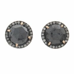 5.77 Ct Black Rough And White Diamond 18k Gold And Sterling Stud Earrings