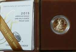 2015 United States Proof 1/2 Oz Gold Eagle In Mint Box And Ogp Bullion