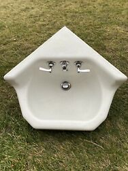 Antique Cast Iron White Porcelain Corner Sink Vintage Bathroom With Faucets