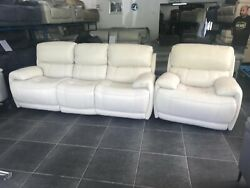 Furniture Village 2+3 Seater Relax Station Loco Rocco Beige Leather Power Sofas