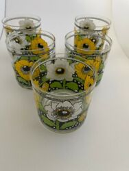 Vintage Georges Briard On The Rocks Glasses Polka Poppy Free Shipping