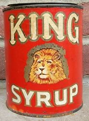 Rare Vtg King Syrup Paper Label Tin Can Graphic Lion Head Advertising