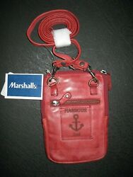 Harbour 2nd Dk RED Leather Benita style crossbody for phone amp; credit cards NEW $35.99