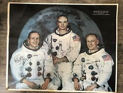 Vintage Original Apollo 11 Astronauts Cardboard Poster Nasa July 1969 Moon Litho