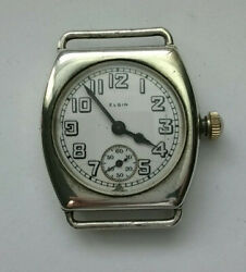 Rare Vintage Elgin Wwi Military Sterling Silver Tonneau Trench Wristwatch 3/0s