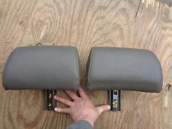 Volvo 960 Rear Back Seat Head Rest Headrest Leather Left And Right Pair Gray