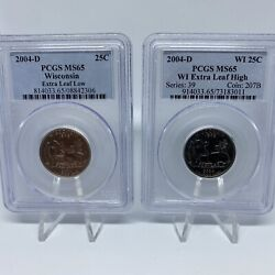 2004 D Wisconsin State Quarter Errors - High And Low Leaf Set - Pcgs Ms-65 Pair