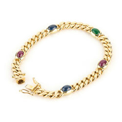 Bracelet 14k Gold With Emerald Sapphires And Rubies