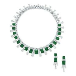 925 Sterling Silver Green Emerald Pear Drop Fringe Necklace And Dangle Earrings