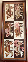 Large Navajo/ Mexico Framed Wool Rug Blanket Native American Indian Tapestry