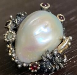 Very Rare Old Huge Antique Sterling Silver And Gold Ornate Pearl Gemstone Ring