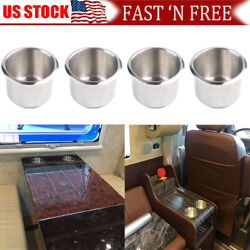 4pcs Stainless Steel Recessed Cup Drink Holder For Marine Boat Camper Truck