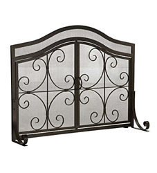 Plow And Hearth Small Crest Fireplace Screen With Doors, Solid Wrought Iron Frame